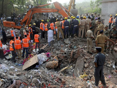 A file image of the building collapse site in Mumbra, Mumbai. AFP