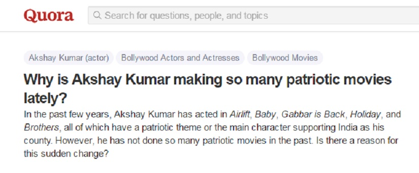 Screenshot of query on Quora