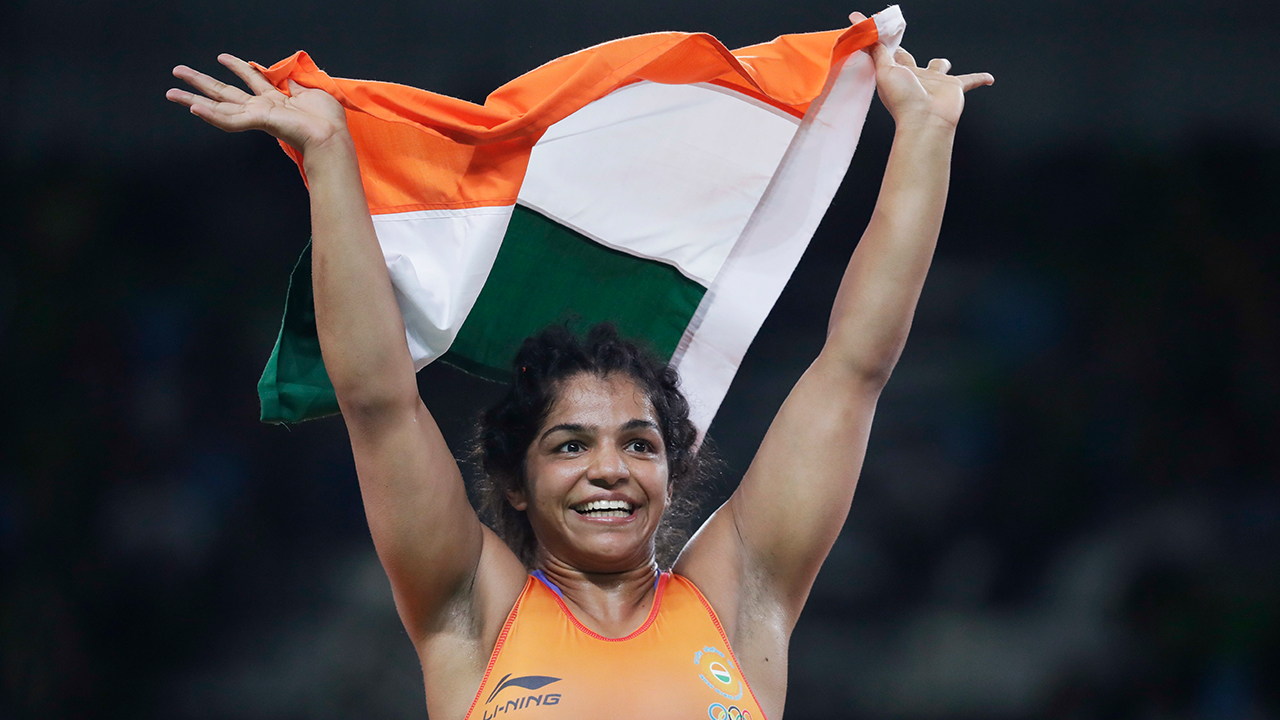 India's Sakshi Malik reacts after winning bronze against in the women's wrestling freestyle 58-kg competition at the 2016 Summer Olympics in Rio de Janeiro, Brazil, Wednesday, Aug. 17, 2016. AP Photo