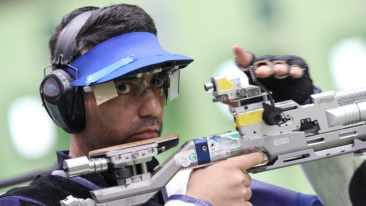 Abhinav Bindra of India competes during men's 10 meter air rifle qualification at Olympic Shooting Center at the 2016 Summer Olympics in Rio de Janeiro, Brazil, Monday, Aug. 8, 2016. AP Photo