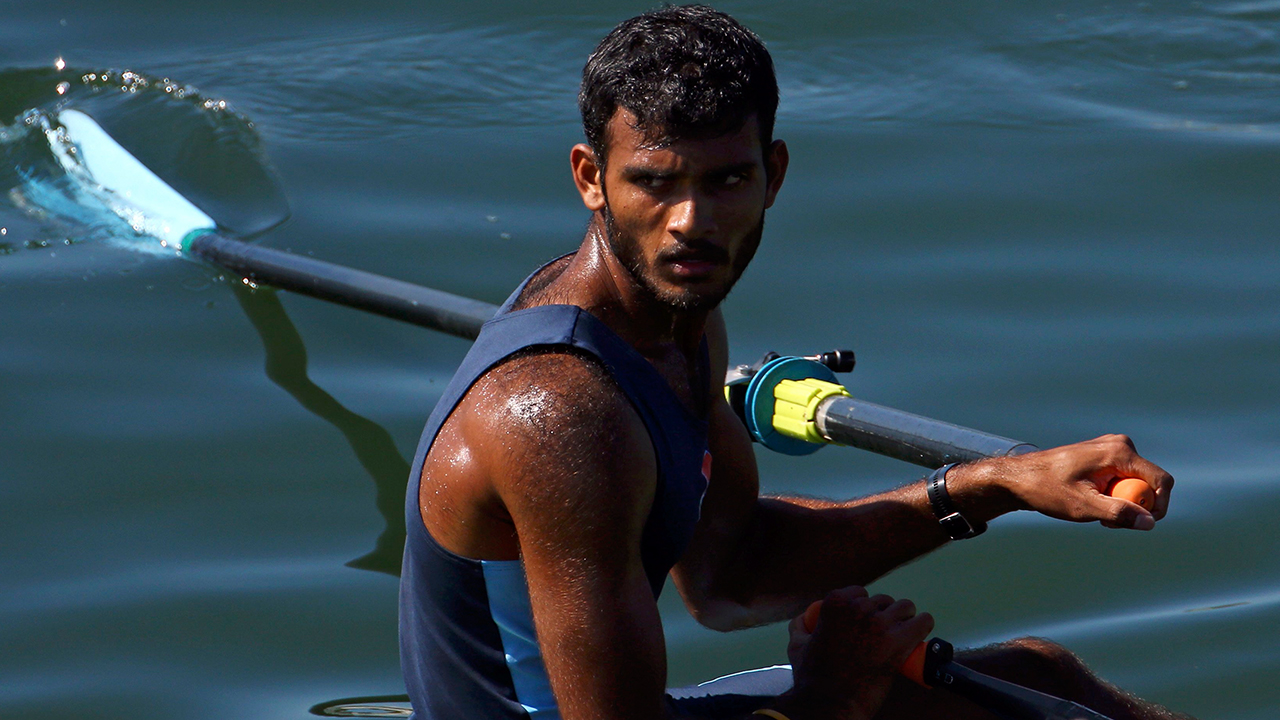 RIO DE JANEIRO, BRAZIL - AUGUST 13: Dattu Baban Bhokanal of India reacts in the Single Sculls Final C at Lagoa Stadium August 13, 2016 in Rio De Janeiro, Brazil. (Photo by Jeremy Lee-Pool/Getty Images)