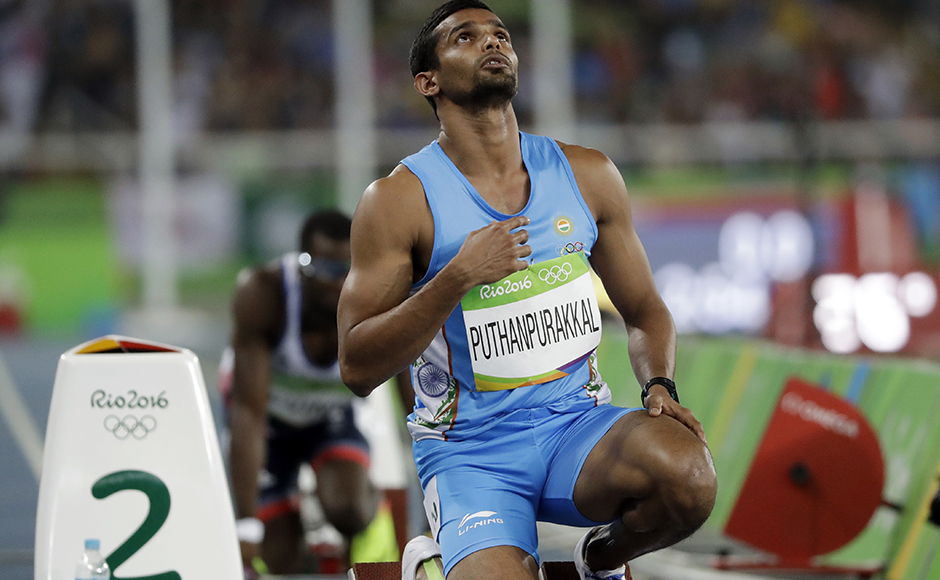 India's KM Puthanpurakkal prepares to compete in a men's 4x400-meter relay heat during the athletics competitions of the 2016 Summer Olympics at the Olympic stadium in Rio de Janeiro, Brazil, Friday, Aug. 19, 2016. (AP Photo/David J. Phillip)
