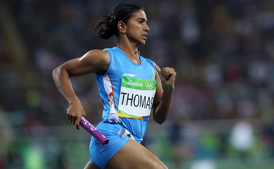India's Anilda Thomas competes in a women's 4x400-meter relay heat during the athletics competitions of the 2016 Summer Olympics at the Olympic stadium in Rio de Janeiro, Brazil, Friday, Aug. 19, 2016. (AP Photo/Lee Jin-man)
