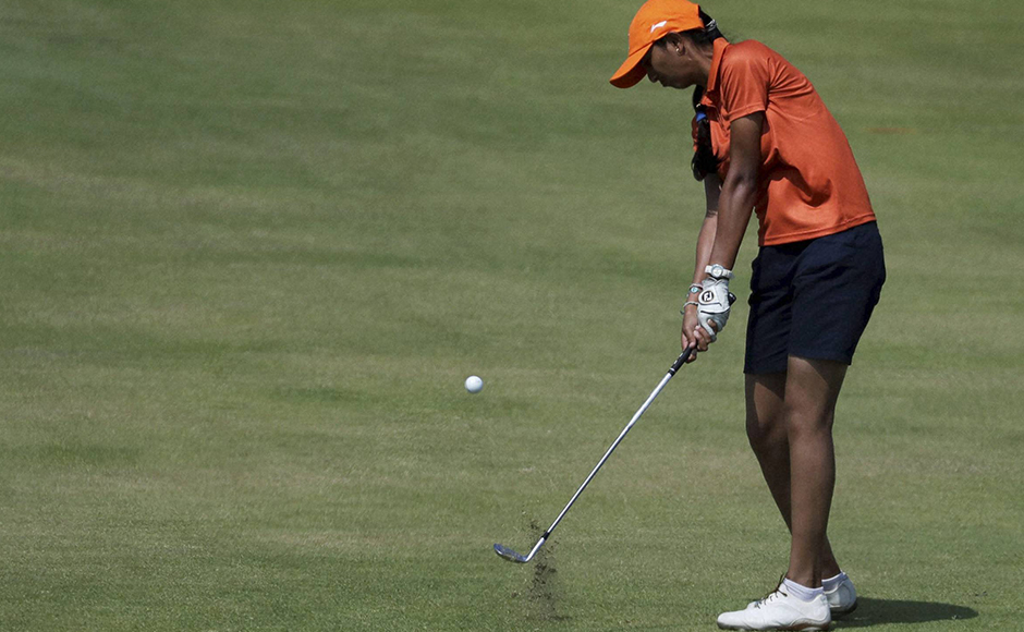 Rio de Janeiro : Aditi Ashok of India hits on the fifth fairway during the third round of the women's golf event at the 2016 Summer Olympics in Rio de Janeiro, Brazil, Friday, Aug. 19, 2016. AP/PTI(AP8_19_2016_000285B)
