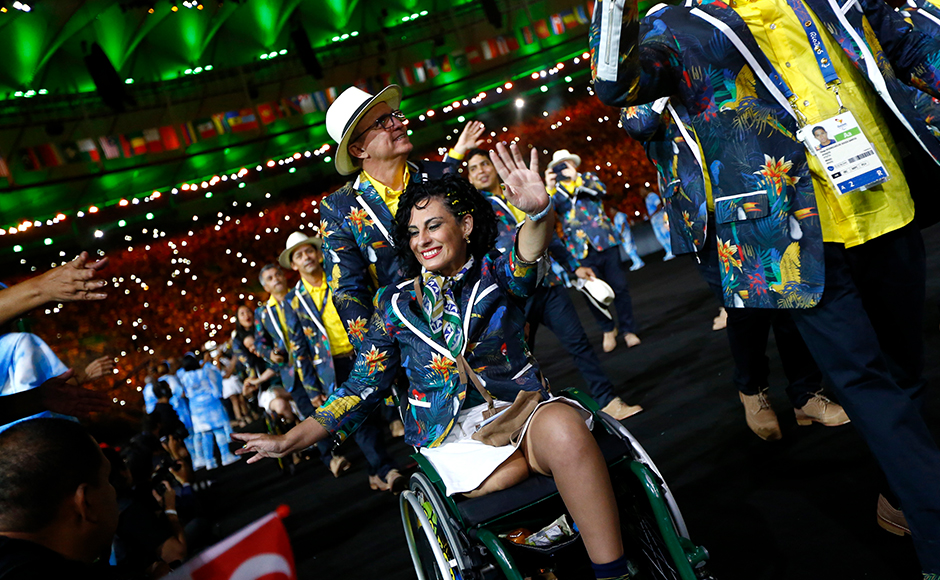 2016 Rio Paralympics - Opening ceremony - Maracana - Rio de Janeiro, Brazil - 07/09/2016. Athletes from Brazil take part in the opening ceremony. REUTERS