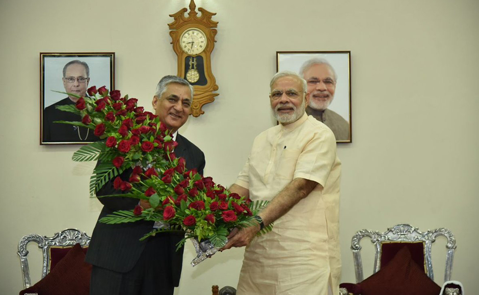 Chief Justice of India T S Thakur greets PM Modi on his birthday in Gandhinagar. PM Modi had a breakfast meeting with Justice Thakur at Raj Bhavan. PTI