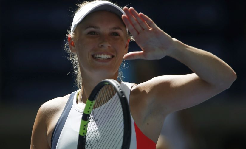 Caroline Wozniacki, of Denmark, reacts after moving onto the 4th round of the US Open 2016. AP
