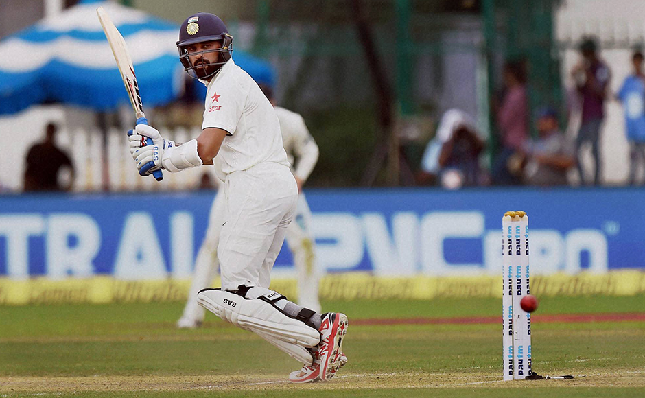 Indian batsman Murali Vijay in action on the opening day of the first Test match against New Zealand at Green Park in Kanpur on Thursday. PTI Photo by Atul Yadav(PTI9_22_2016_000060B)