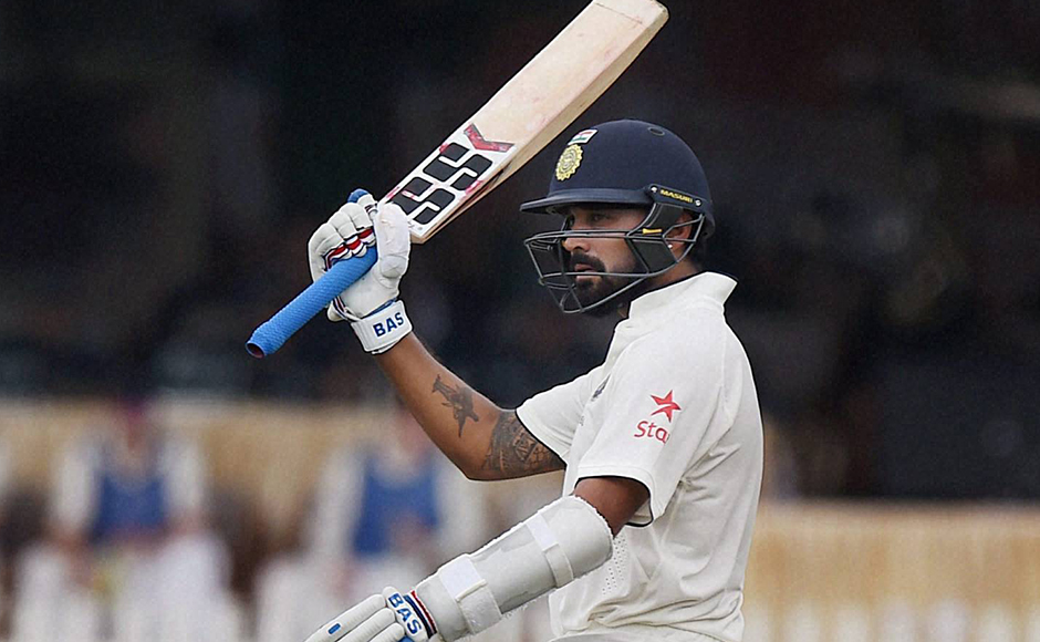 Indian batsman Murali Vijay raises his bat after completing a half-century on the opening day of the first Test match against New Zealand at Green Park in Kanpur on Thursday. PTI Photo by Atul Yadav(PTI9_22_2016_000061B)