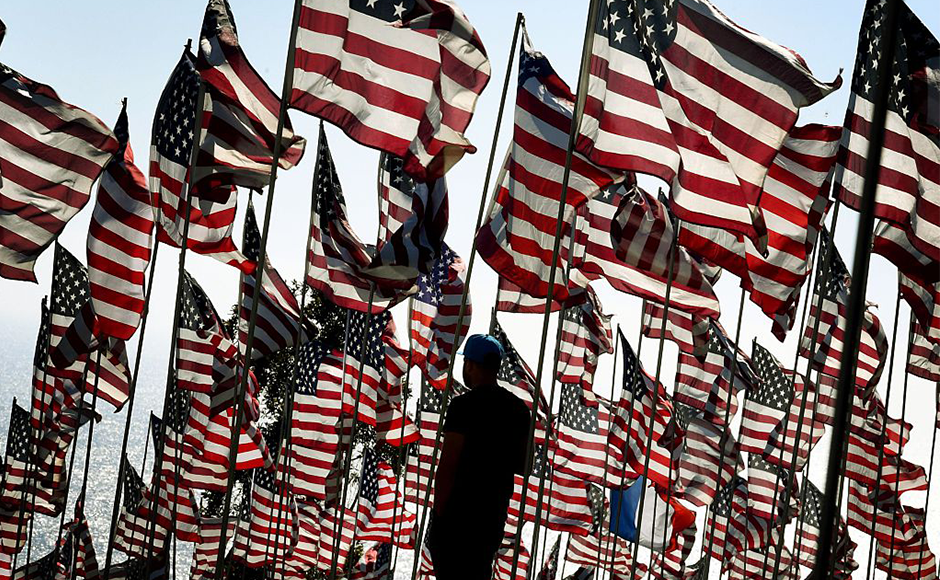 Students of the Pepperdine University placed around 3,000 flags at their campus in Malibu, California in tribute to the nearly 3,000 victims lost in the September attacks. Getty Images