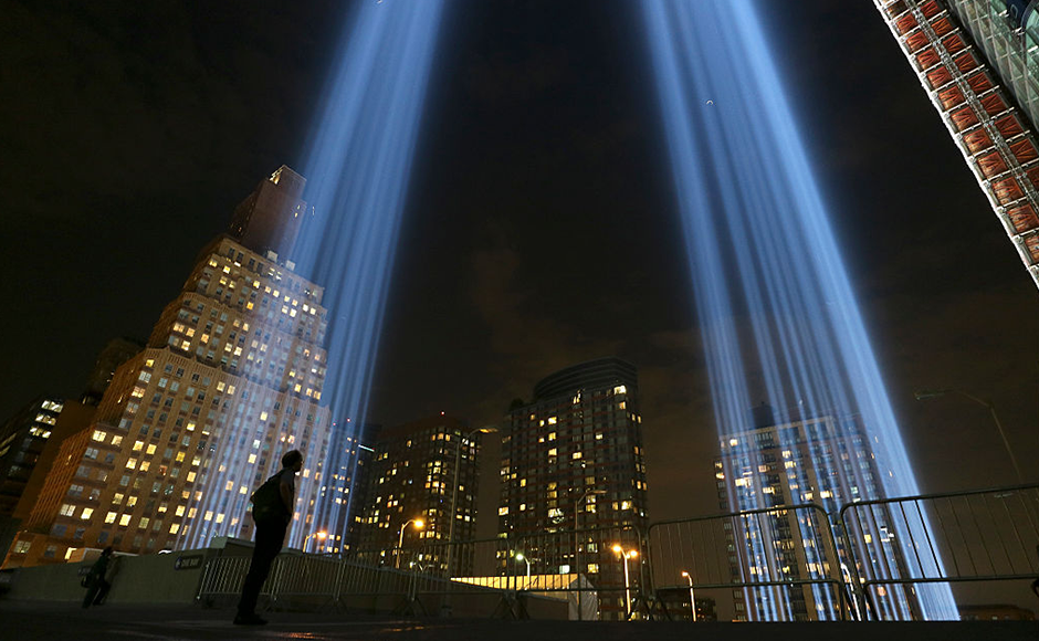 The iconic Tribute in Light display consists of 88 eight beams of light forming the shape of the Twin Towers. Getty Images