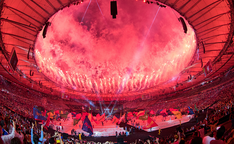 Fireworks around the rim of the arena at the end of the closing ceremony of the Rio 2016 Paralympic Games at the Maracanã Stadium in Rio de Janeiro, Brazil, Sunday, Sept. 18, 2016. (Simon Bruty/OIS, IOC via AP)