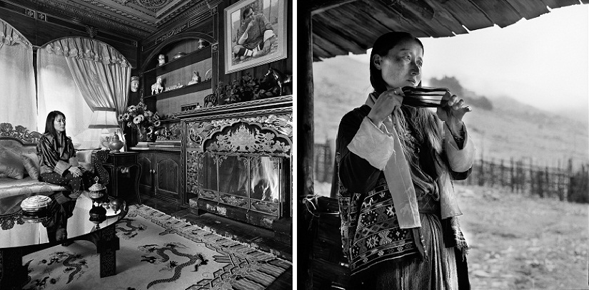 (L) Her Majesty The Queen of Bhutan, Ashi Dorji Wangmo Wangchuck, at home in her palace in Thimpu, 2004; (R) Nima Chozom in Merak village, 2005. Images © Serena Chopra, courtesy Tasveer