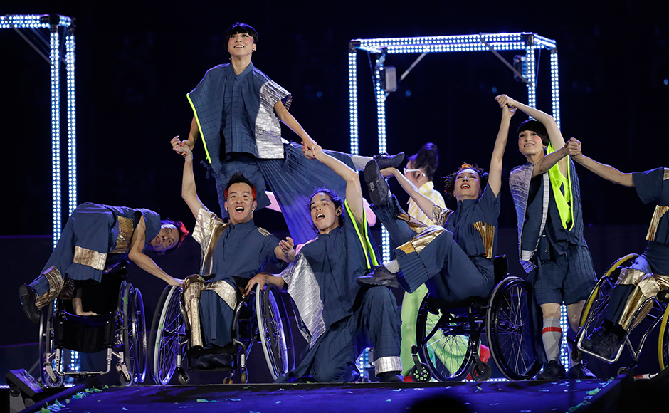 Performers dance during the closing ceremony of the Rio 2016 Paralympic Games at the Maracana Stadium in Rio de Janeiro, Brazil, Sunday, Sept. 18, 2016. (AP Photo/Leo Correa)