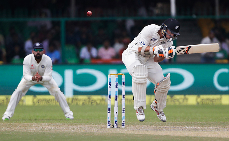 New Zealand's Tom Latham bats on the second day of their cricket test match against India at Green Park Stadium in Kanpur, India, Friday, Sept. 23, 2016.AP