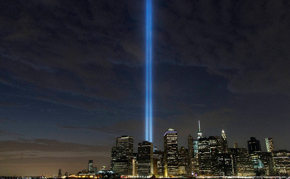 The Tribute in Light rises above the lower Manhattan skyline in New York a day before the fifteenth anniversary of the attacks. AP
