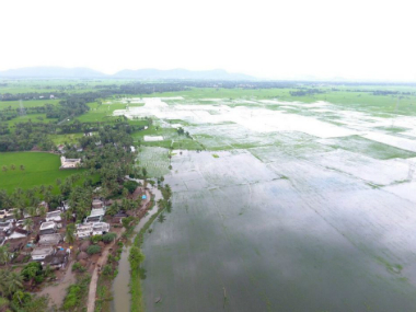 Image of the flooded area taken from the drone. Twitter@ncbn