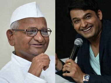 Anna Hazare and Kapil Sharma. Image courtesy: Creative Commons