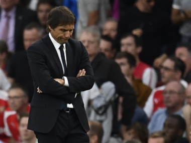 Chelsea manager Antonio Conte cuts a disconsolate figure. Reuters