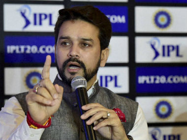 Anurag Thakur speaks to mediapersons during the press conference in New Delhi on Sunday. PTI