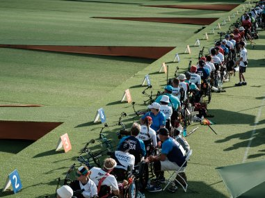 Archers compete during the ranking round of the Rio 2016 Paralympic Games. AFP