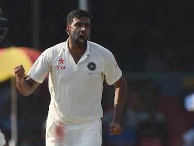 Ravichandran Ashwin celebrates a scalp during the India vs New Zealand test match. AFP