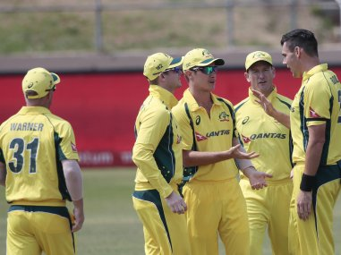 File photo of Australia's bowler Scott Boland with other teammates. AFP