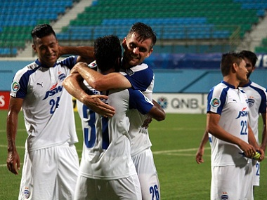 Bengaluru FC players celebrate after winning the quarter-final tie against Tampines Rovers. Image courtesy: Twitter/@BengaluruFC