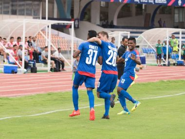 CK Vineeth's early goal gave Bengaluru FC a 1-0 advantage after the 1st leg of AFC Cup quarter-final. Image Courtesy: Bengaluru FC Twitter