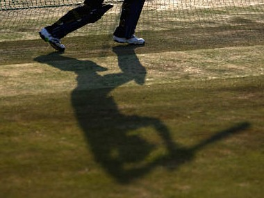 JOHANNESBURG, SOUTH AFRICA - SEPTEMBER 23: The Shadow of a batsman during the England nets session at the University of Witswatersrand on September 23, 2009 in Johannesburg, South Africa. (Photo by Tom Shaw/Getty Images)