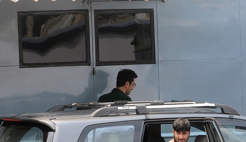 Ranbir emerges from his vanity van. Image by Sachin Gokhale/Firstpost