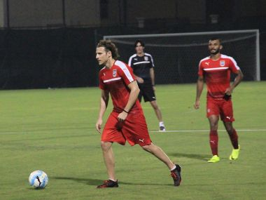 Mumbai City FC player Diego Forlan during a practice session. ISL website