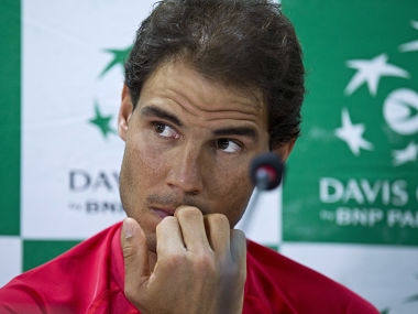 Spanish tennis player, Rafael Nadal during a press conference ahead of their Davis Cup tennis match against India. AP