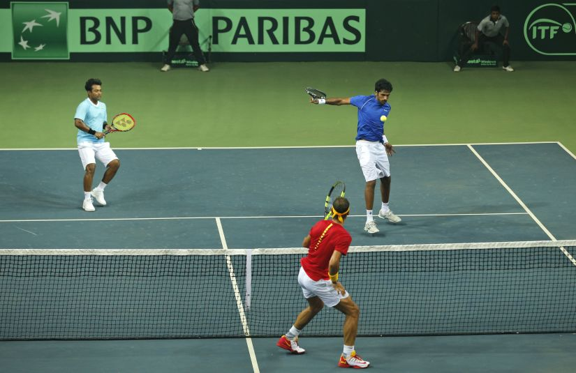 India's Saketh Myneni and Leander Paes play Spain's Rafael Nadal and Marc Lopez. AP