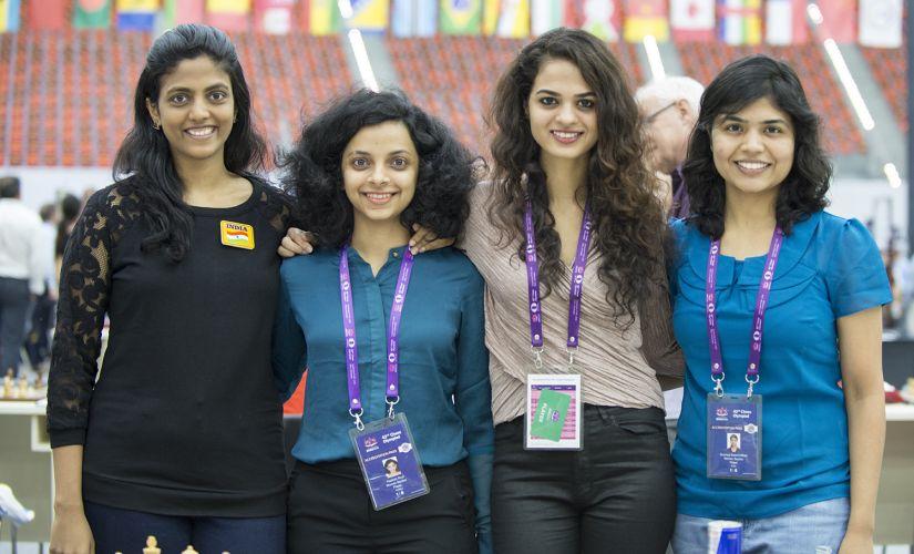 The Indian Women Team at Baku. From Left to Right: Dronavalli Harika, Padmini Rout, Tania Sachdev and Soumya Swaminathan. Image Courtesy - David Llada