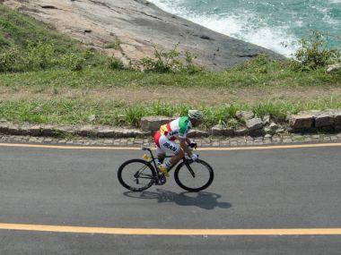 Iranian Cyclist Bahman Golbarnezhad participating at the Rio Paralympics 2016. AP