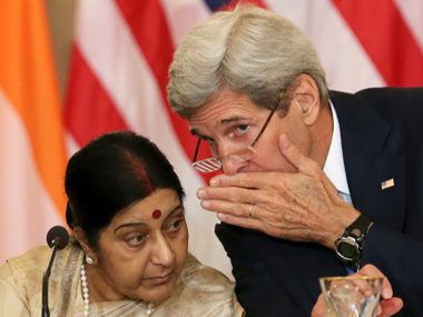 A file photo of External Affair Minister Sushma Swaraj with US Secretary of State John Kerry. Reuters