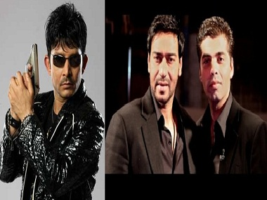 Kamaal R Khan Karan Johar didnt pay me Ajay Devgn shouldnt shoot from my shoulder