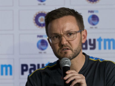 New Zealand coach Mike Hesson addresses the media in New Delhi on Tuesday. AP