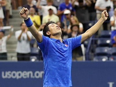 Kei Nishikori of Japan celebrates his win over Andy Murray at the US Open. Reuters
