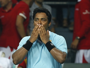 Leander Paes in action during the Davis Cup match against Spain. AP