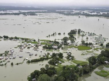 An aerial view of a Majuli, while it was flooded by the Brahmaputra. Reuters