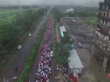 Maratha protests in Navi Mumbai. Image courtesy IBN-Lokmat