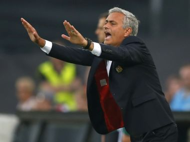 Manchester United manager Jose Mourinho gestures during their Europa league tie against Feyenoord. AP