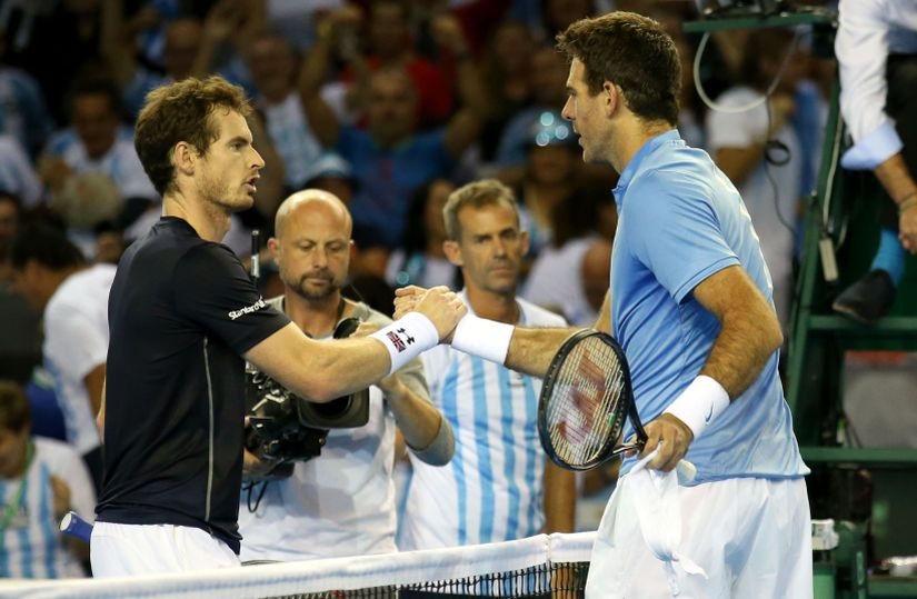 Great Britain's Andy Murray and Argentina's Juan Martin Del Potro. AP