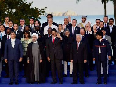 Vice President M Hamid Ansari, Venezuelan President Nicolas Maduro and other world leaders at a group photo at the 17th Summit of the Non Aligned Movement (NAM) at Margarita Island in Venezuela. PTI