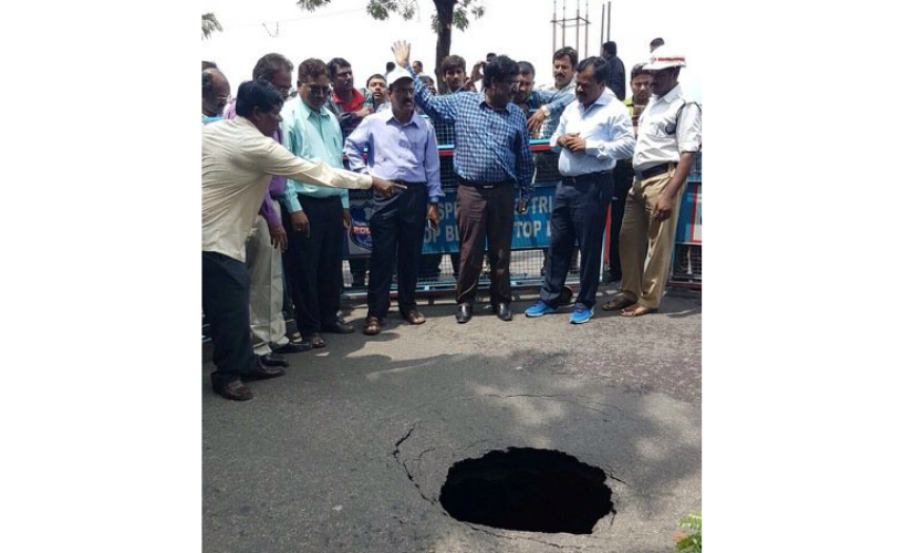 Road caves in NTR Marg, Hyderabad. Firstpost/TS Sudhir