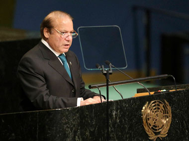 Pakistani Prime Minister Muhammad Nawaz Sharif speaks during the 71st session of the United Nations General Assembly at UN. PTI