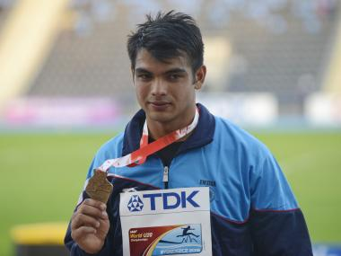 Neeraj Chopra with his gold medal. Getty Images