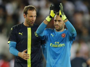 Arsenal goalkeepers David Ospina and Petr Cech after their Champions League tie against PSG. Reuters